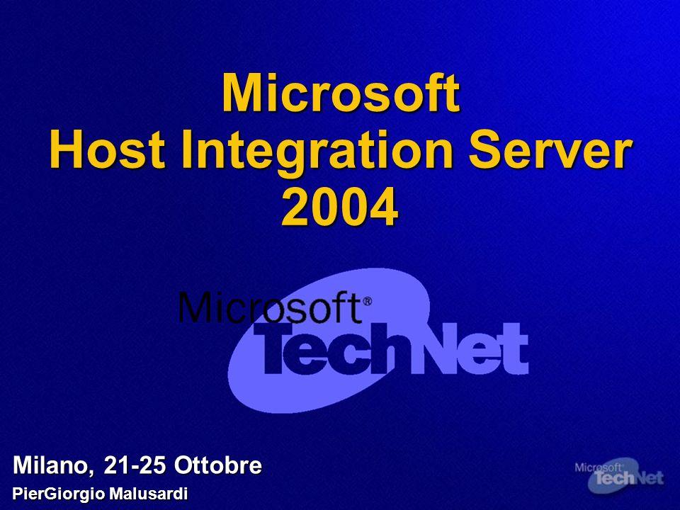 Agenda Interoperabilità tra Piattaforme Interoperabilità tra Piattaforme Rete e Sicurezza Rete e Sicurezza Integrazione di Dati Integrazione di Dati Integrazione Enterprise Integrazione Enterprise Integrazione di Applicazioni Integrazione di Applicazioni Novità di Host Integration Server 2004 Novità di Host Integration Server 2004
