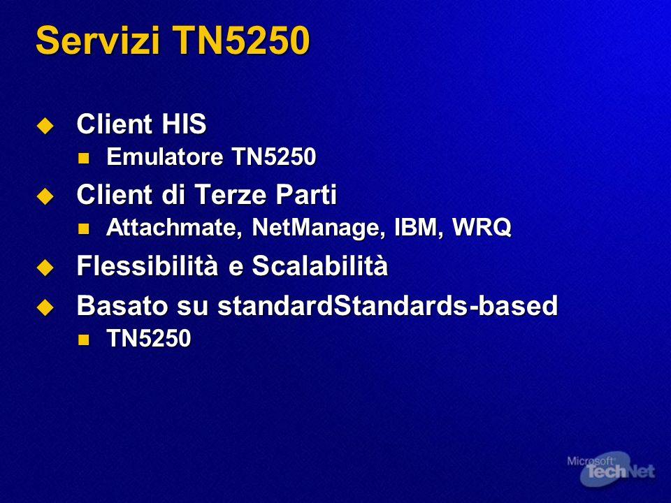 Servizi TN5250 Client HIS Client HIS Emulatore TN5250 Emulatore TN5250 Client di Terze Parti Client di Terze Parti Attachmate, NetManage, IBM, WRQ Att