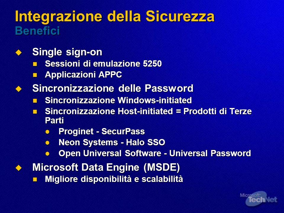 Integrazione della Sicurezza Benefici Single sign-on Single sign-on Sessioni di emulazione 5250 Sessioni di emulazione 5250 Applicazioni APPC Applicaz