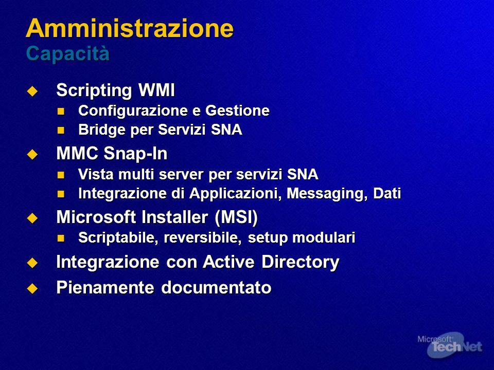 Amministrazione Capacità Scripting WMI Scripting WMI Configurazione e Gestione Configurazione e Gestione Bridge per Servizi SNA Bridge per Servizi SNA