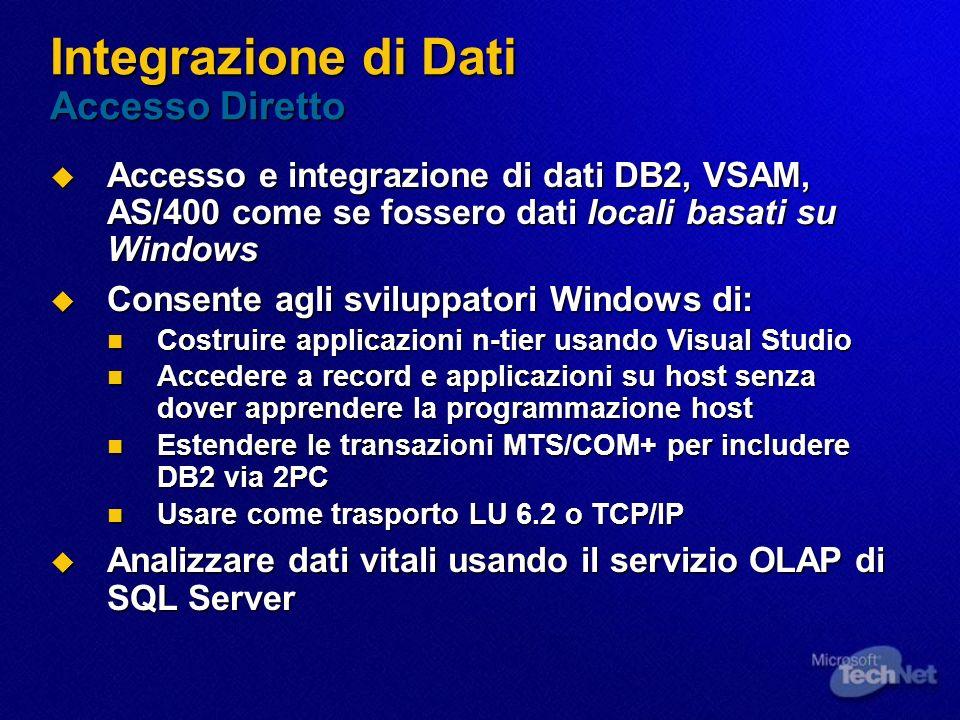 Integrazione di Dati Accesso Diretto Accesso e integrazione di dati DB2, VSAM, AS/400 come se fossero dati locali basati su Windows Accesso e integraz