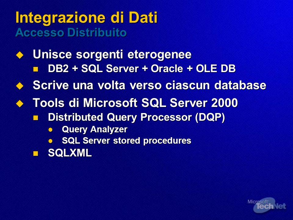 Integrazione di Dati Accesso Distribuito Unisce sorgenti eterogenee Unisce sorgenti eterogenee DB2 + SQL Server + Oracle + OLE DB DB2 + SQL Server + O