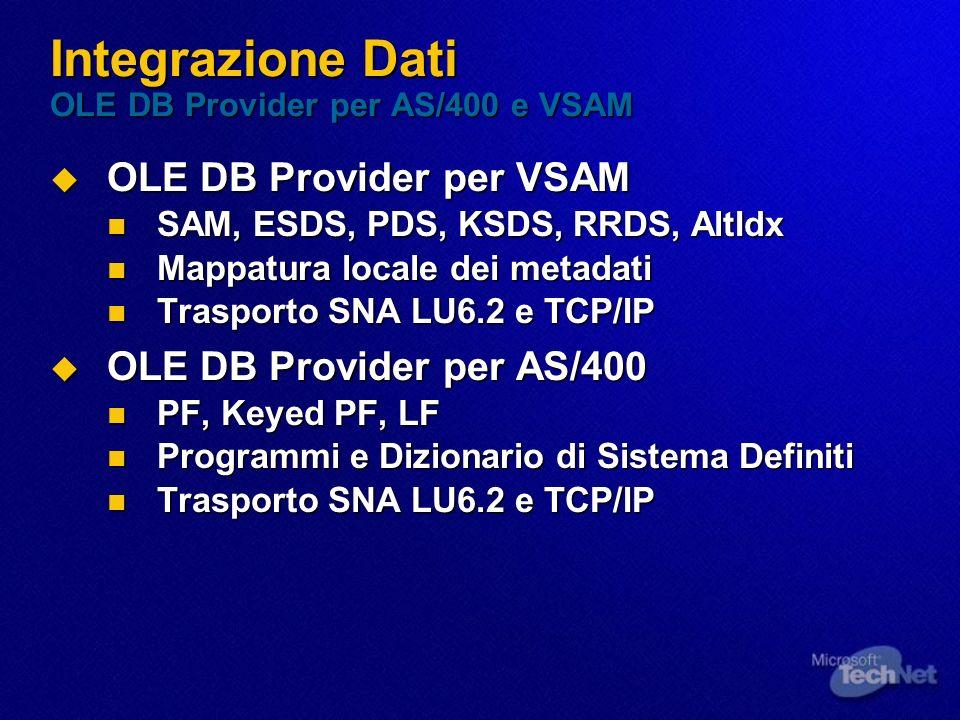 Integrazione Dati OLE DB Provider per AS/400 e VSAM OLE DB Provider per VSAM OLE DB Provider per VSAM SAM, ESDS, PDS, KSDS, RRDS, AltIdx SAM, ESDS, PD