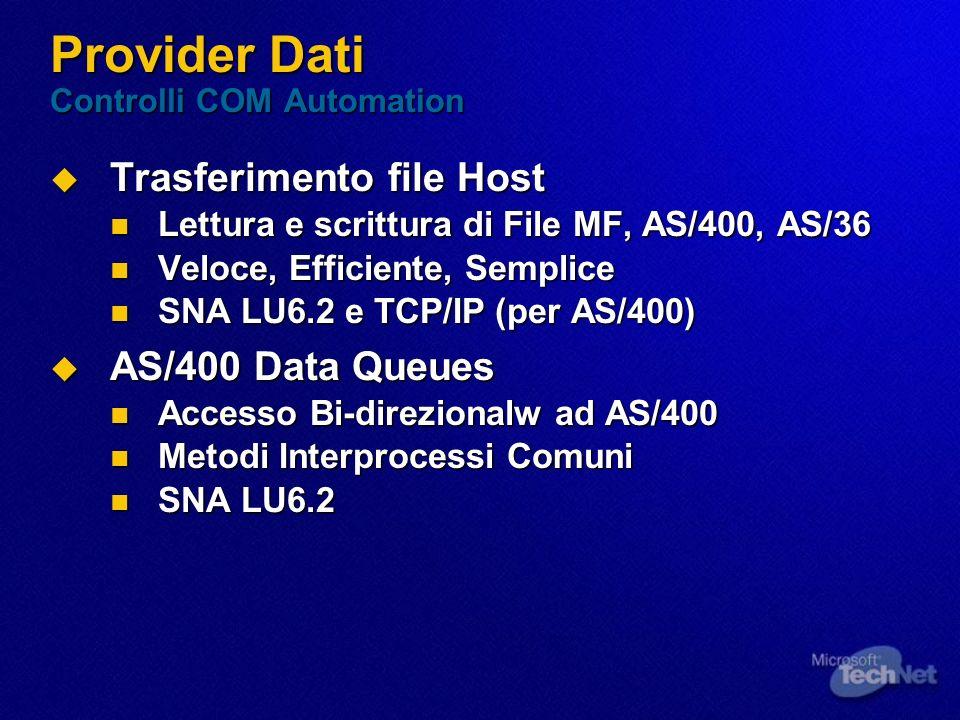 Provider Dati Controlli COM Automation Trasferimento file Host Trasferimento file Host Lettura e scrittura di File MF, AS/400, AS/36 Lettura e scrittu