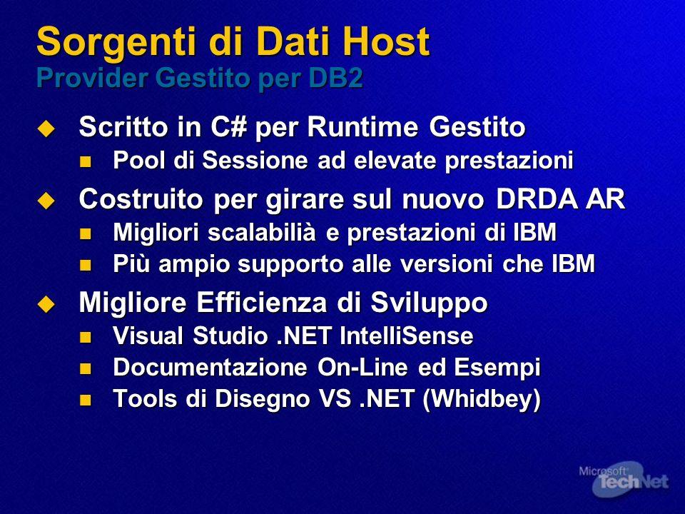 Sorgenti di Dati Host Provider Gestito per DB2 Scritto in C# per Runtime Gestito Scritto in C# per Runtime Gestito Pool di Sessione ad elevate prestaz