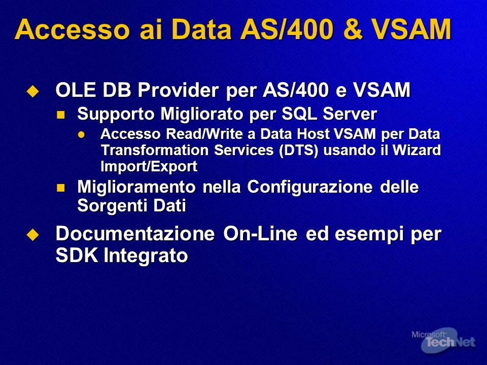 Accesso ai Data AS/400 & VSAM OLE DB Provider per AS/400 e VSAM OLE DB Provider per AS/400 e VSAM Supporto Migliorato per SQL Server Supporto Migliora