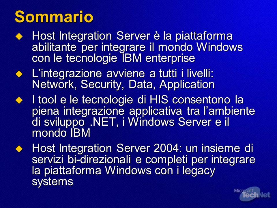 Sommario Host Integration Server è la piattaforma abilitante per integrare il mondo Windows con le tecnologie IBM enterprise Host Integration Server è