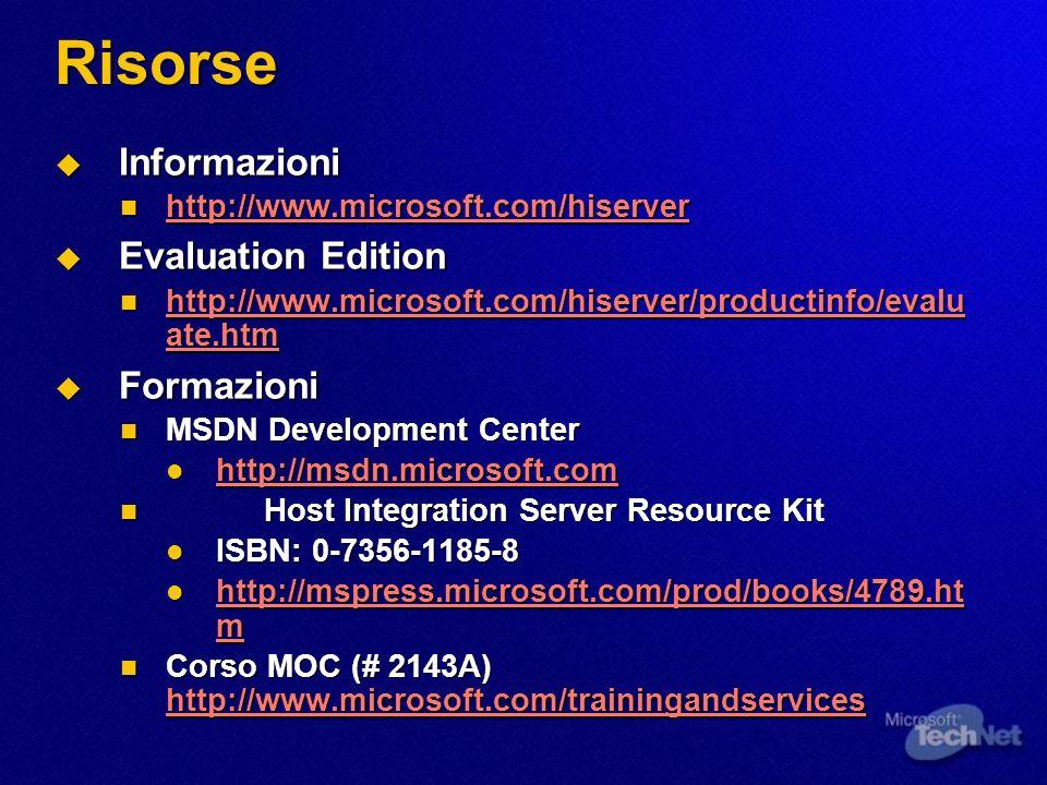 Risorse Informazioni Informazioni http://www.microsoft.com/hiserver http://www.microsoft.com/hiserver http://www.microsoft.com/hiserver Evaluation Edi