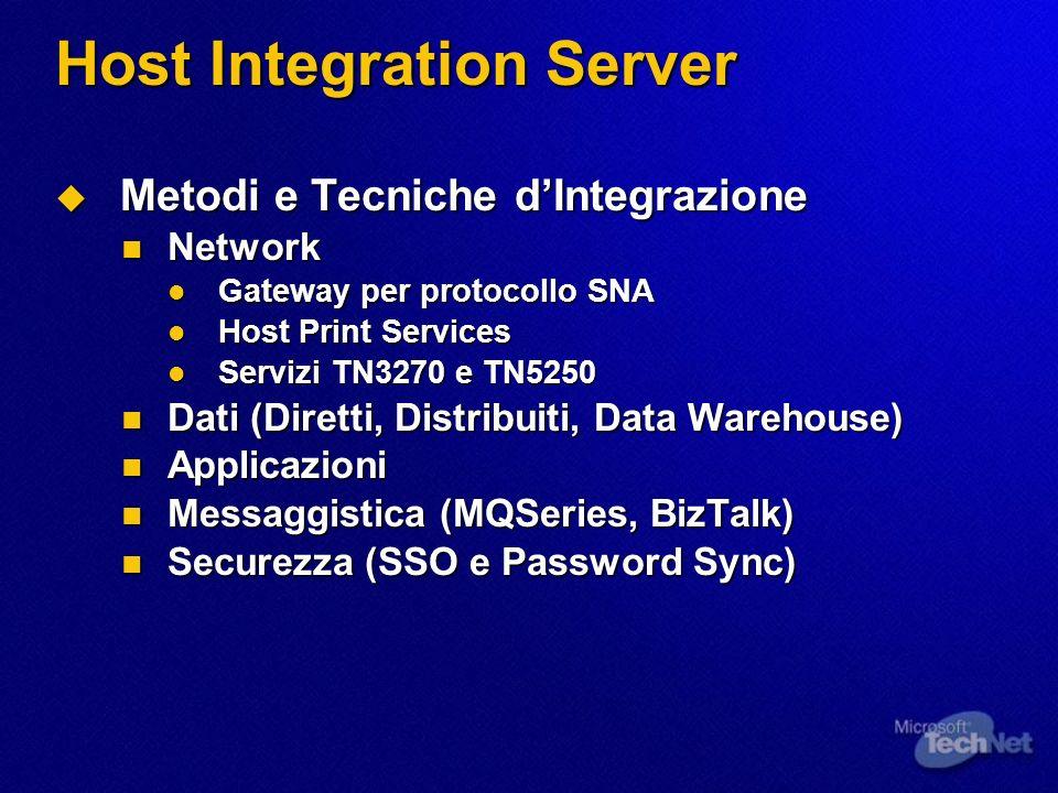 Host Integration Server Metodi e Tecniche dIntegrazione Metodi e Tecniche dIntegrazione Network Network Gateway per protocollo SNA Gateway per protoco
