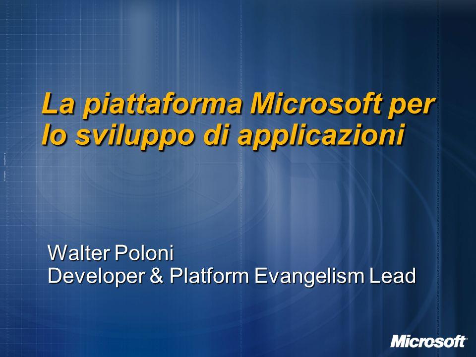 La piattaforma Microsoft per lo sviluppo di applicazioni Walter Poloni Developer & Platform Evangelism Lead