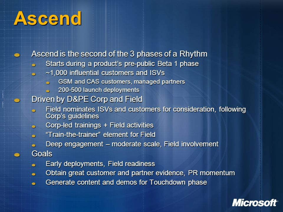 Ascend Ascend is the second of the 3 phases of a Rhythm Starts during a products pre-public Beta 1 phase ~1,000 influential customers and ISVs GSM and