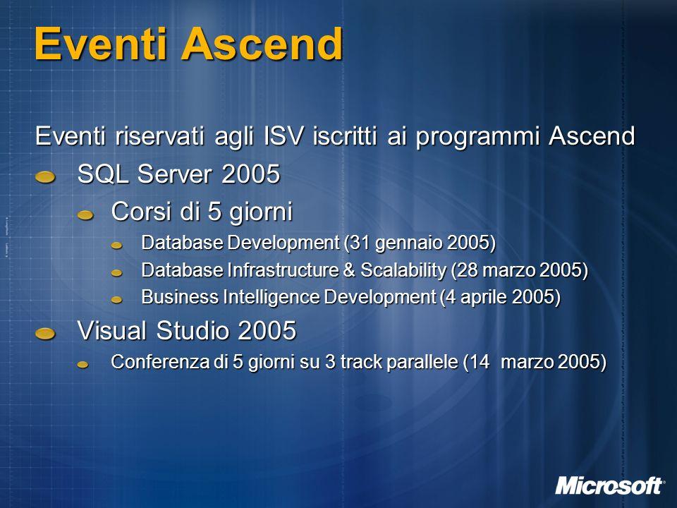 Eventi Ascend Eventi riservati agli ISV iscritti ai programmi Ascend SQL Server 2005 Corsi di 5 giorni Database Development (31 gennaio 2005) Database