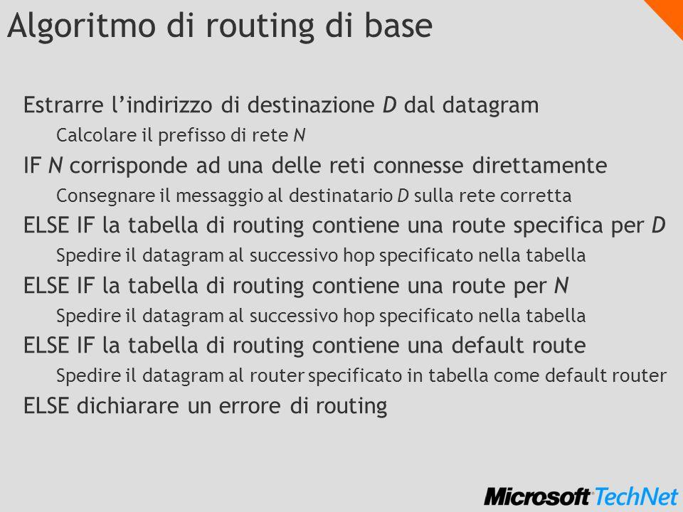 Algoritmo di routing di base Estrarre lindirizzo di destinazione D dal datagram Calcolare il prefisso di rete N IF N corrisponde ad una delle reti connesse direttamente Consegnare il messaggio al destinatario D sulla rete corretta ELSE IF la tabella di routing contiene una route specifica per D Spedire il datagram al successivo hop specificato nella tabella ELSE IF la tabella di routing contiene una route per N Spedire il datagram al successivo hop specificato nella tabella ELSE IF la tabella di routing contiene una default route Spedire il datagram al router specificato in tabella come default router ELSE dichiarare un errore di routing