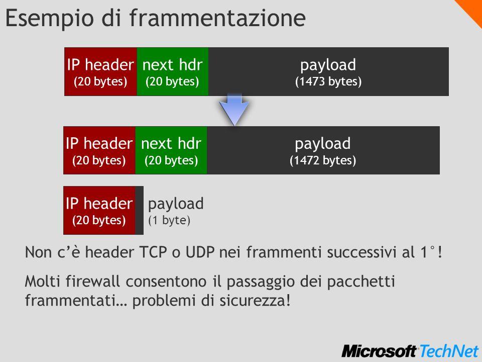 Esempio di frammentazione IP header (20 bytes) next hdr (20 bytes) payload (1473 bytes) IP header (20 bytes) next hdr (20 bytes) payload (1472 bytes) IP header (20 bytes) payload (1 byte) Non cè header TCP o UDP nei frammenti successivi al 1°.