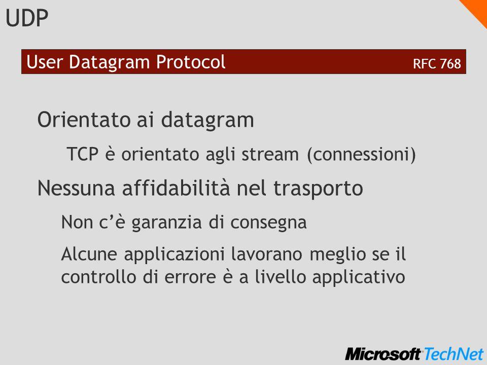 UDP Orientato ai datagram TCP è orientato agli stream (connessioni) Nessuna affidabilità nel trasporto Non cè garanzia di consegna Alcune applicazioni lavorano meglio se il controllo di errore è a livello applicativo User Datagram Protocol RFC 768