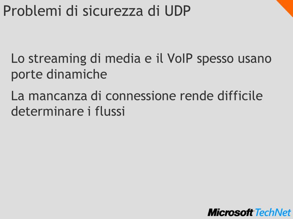 Problemi di sicurezza di UDP Lo streaming di media e il VoIP spesso usano porte dinamiche La mancanza di connessione rende difficile determinare i flussi
