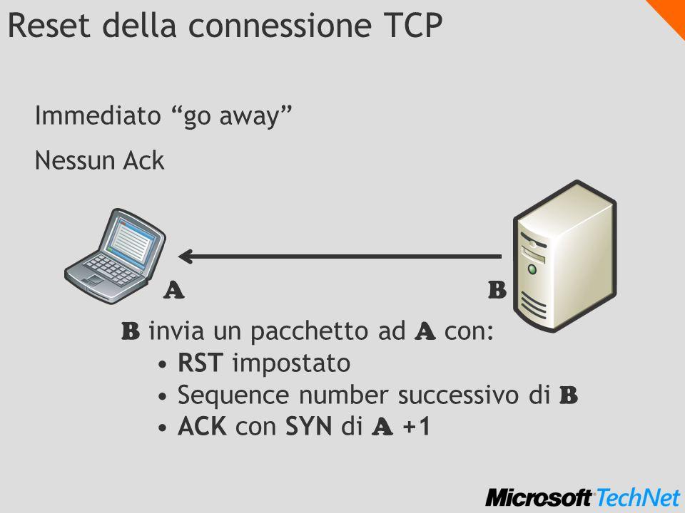 Reset della connessione TCP B invia un pacchetto ad A con: RST impostato Sequence number successivo di B ACK con SYN di A +1 Immediato go away Nessun Ack AB