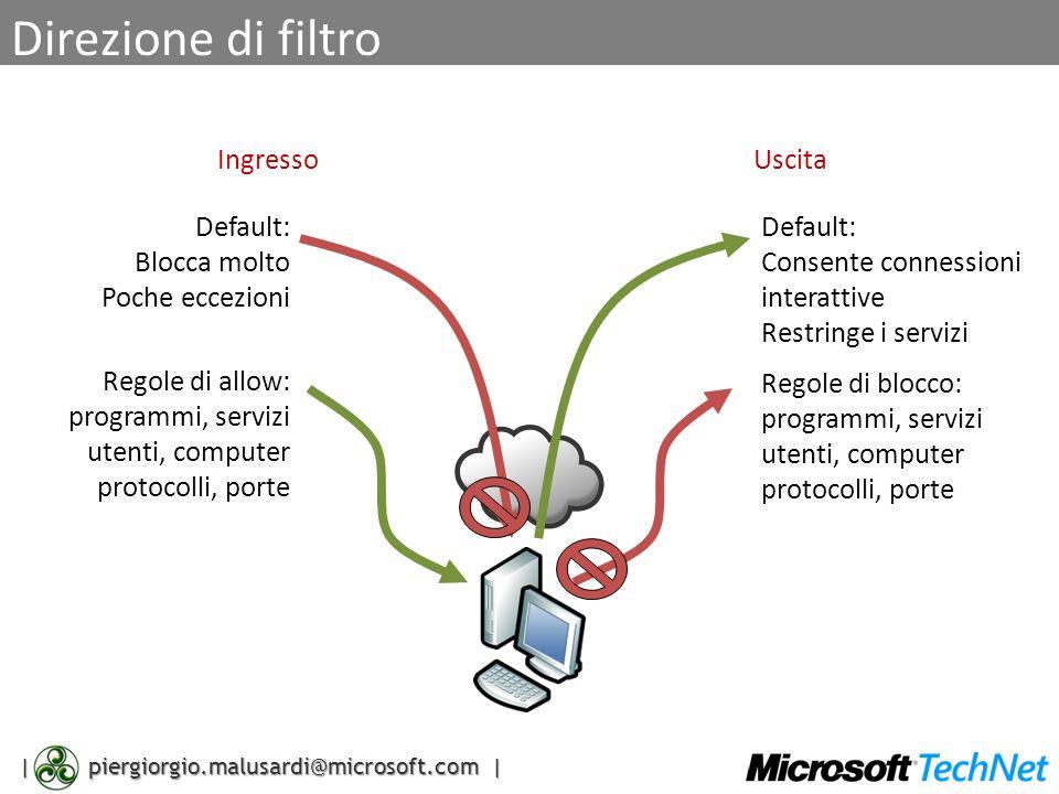 | piergiorgio.malusardi@microsoft.com | Direzione di filtro IngressoUscita Default: Blocca molto Poche eccezioni Regole di allow: programmi, servizi u