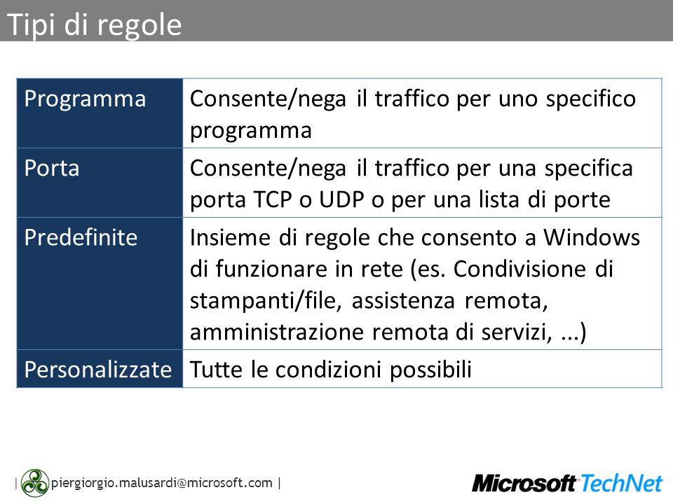 | piergiorgio.malusardi@microsoft.com | Tipi di regole ProgrammaConsente/nega il traffico per uno specifico programma PortaConsente/nega il traffico p