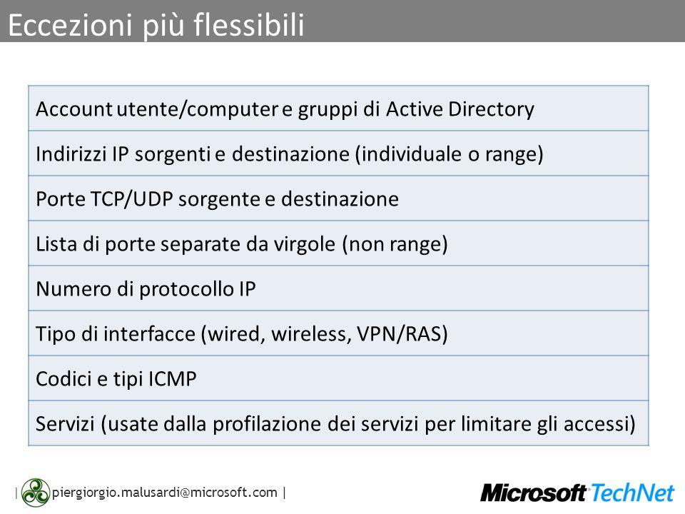 | piergiorgio.malusardi@microsoft.com | Eccezioni più flessibili Account utente/computer e gruppi di Active Directory Indirizzi IP sorgenti e destinaz