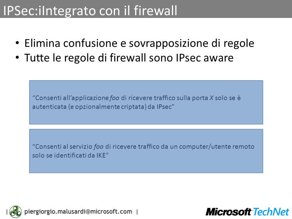 | piergiorgio.malusardi@microsoft.com | IPSec:iIntegrato con il firewall Elimina confusione e sovrapposizione di regole Tutte le regole di firewall so