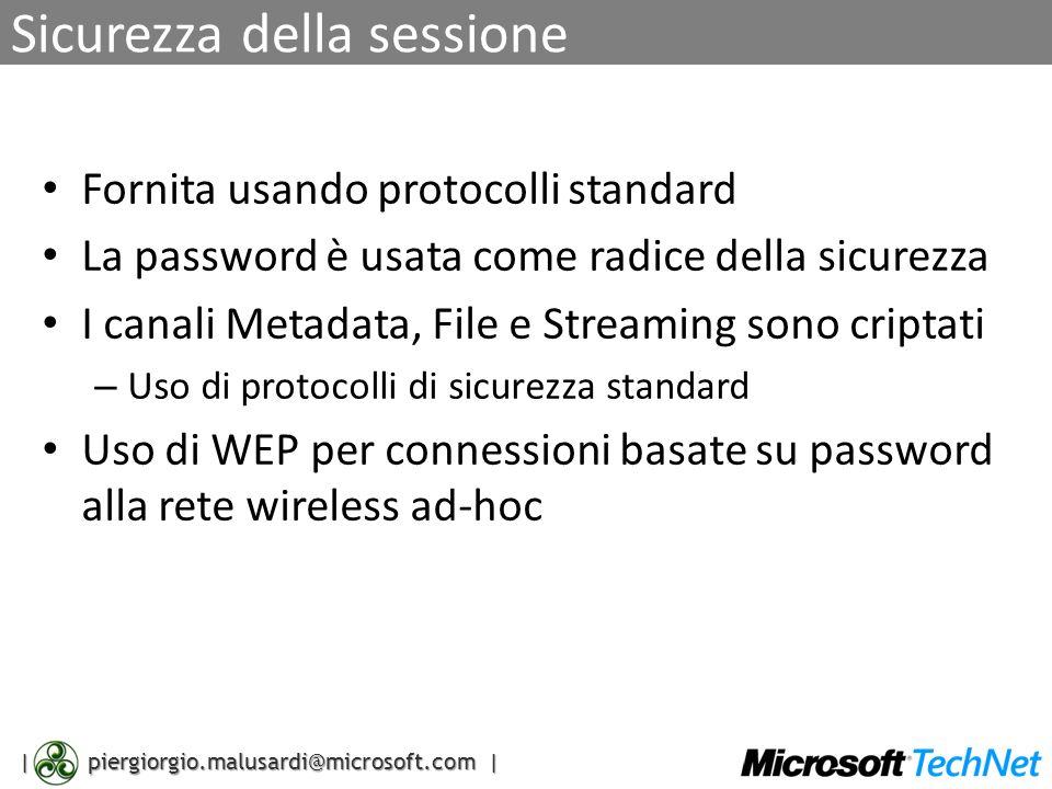 | piergiorgio.malusardi@microsoft.com | Sicurezza della sessione Fornita usando protocolli standard La password è usata come radice della sicurezza I