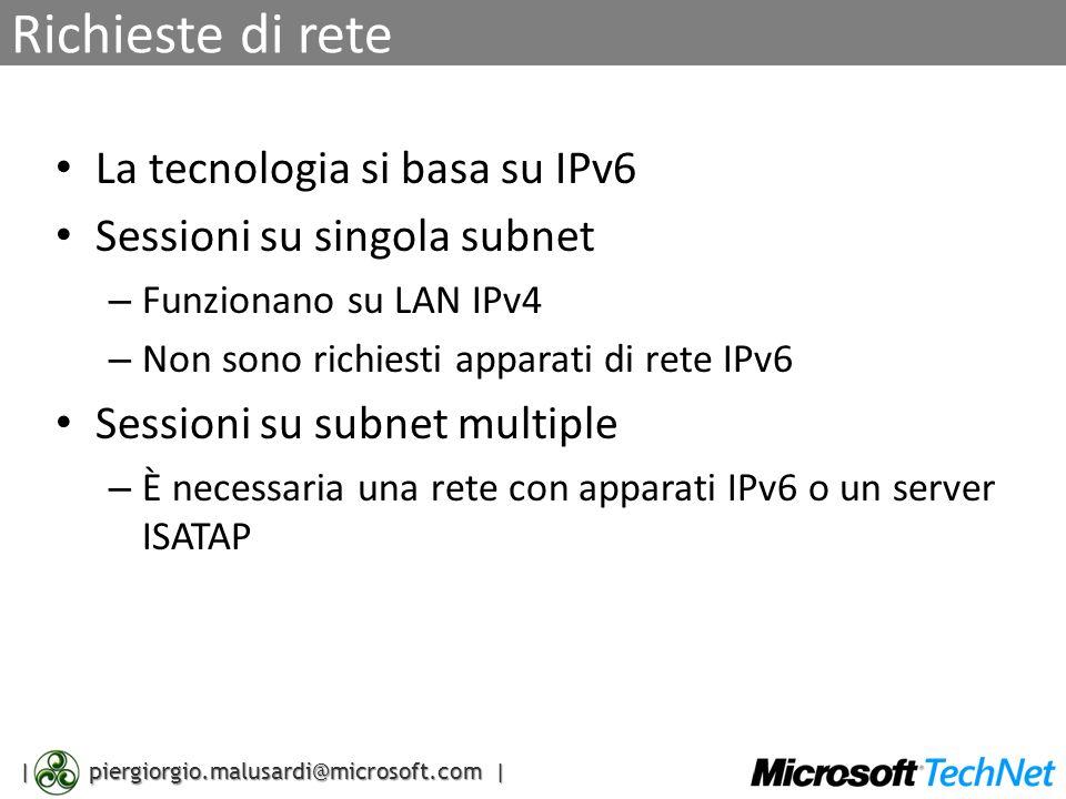 | piergiorgio.malusardi@microsoft.com | Richieste di rete La tecnologia si basa su IPv6 Sessioni su singola subnet – Funzionano su LAN IPv4 – Non sono richiesti apparati di rete IPv6 Sessioni su subnet multiple – È necessaria una rete con apparati IPv6 o un server ISATAP
