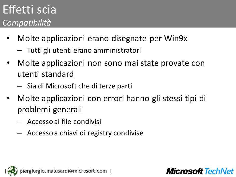 | piergiorgio.malusardi@microsoft.com | Effetti scia Compatibilità Molte applicazioni erano disegnate per Win9x – Tutti gli utenti erano amministrator