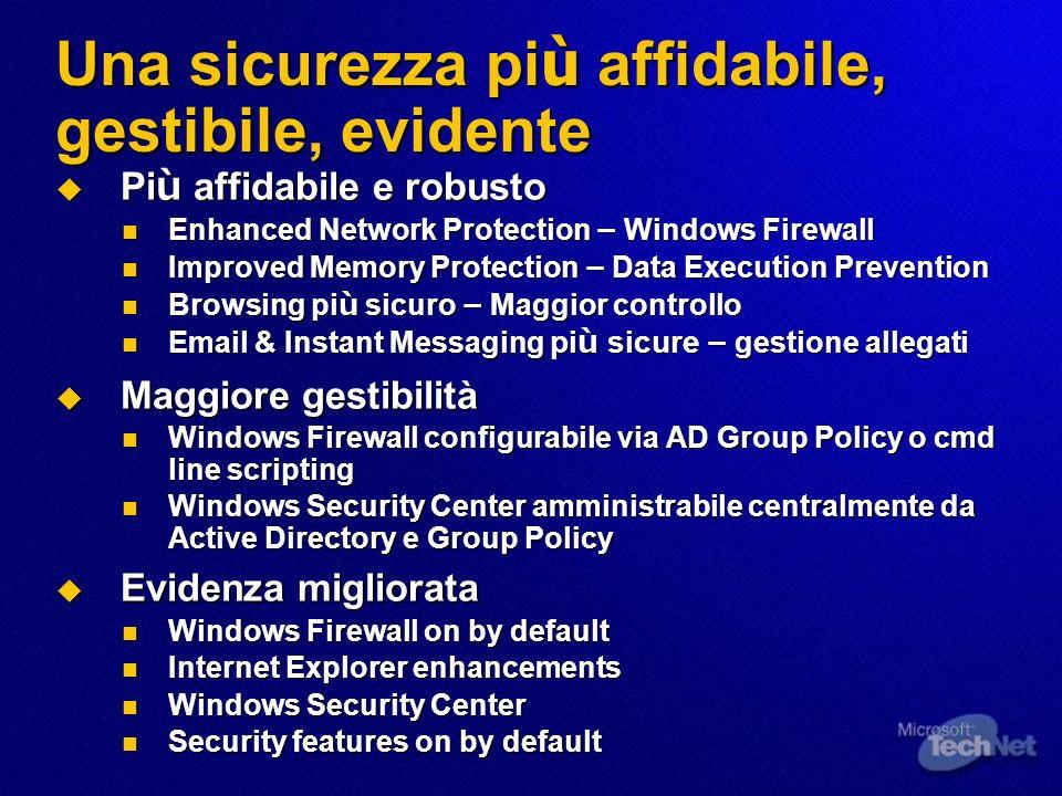 Windows XP SP2 Overview Memoria Protezione a livello di sistema operativo di base Rete Protezione del sistema da attacchi sulla rete Allegati Email e Instant Messaging più sicuri Web Accesso a Internet più sicuro per le attività più comuni