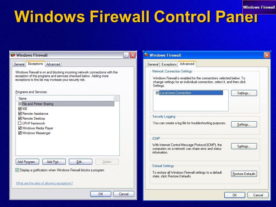 Adding exceptions Windows Firewall