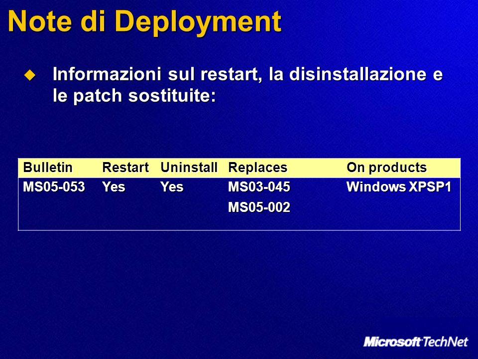 Note di Deployment Informazioni sul restart, la disinstallazione e le patch sostituite: Informazioni sul restart, la disinstallazione e le patch sosti