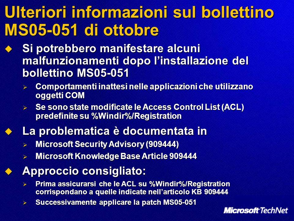 Ulteriori informazioni sul bollettino MS05-051 di ottobre Si potrebbero manifestare alcuni malfunzionamenti dopo linstallazione del bollettino MS05-05