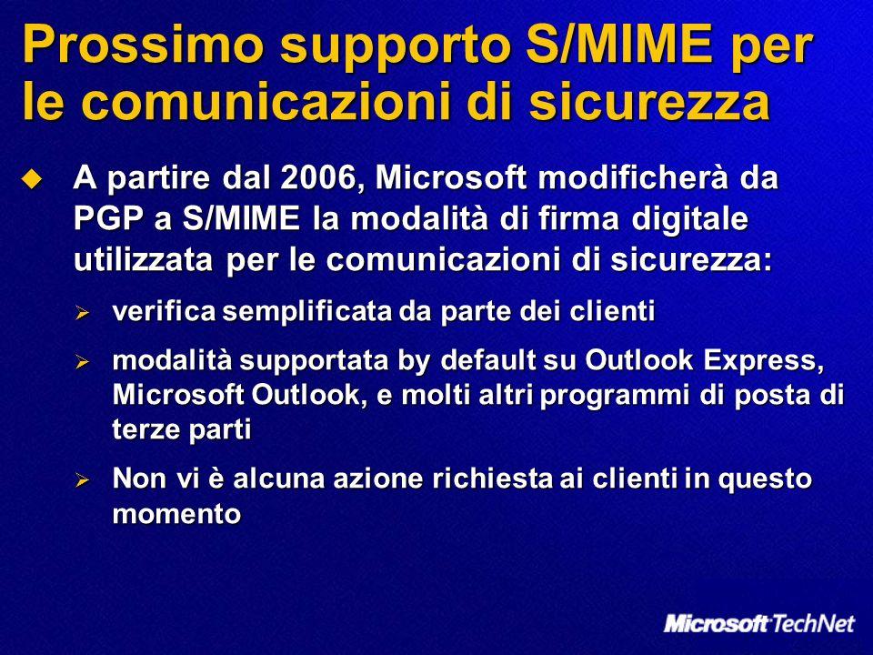 Prossimo supporto S/MIME per le comunicazioni di sicurezza A partire dal 2006, Microsoft modificherà da PGP a S/MIME la modalità di firma digitale uti