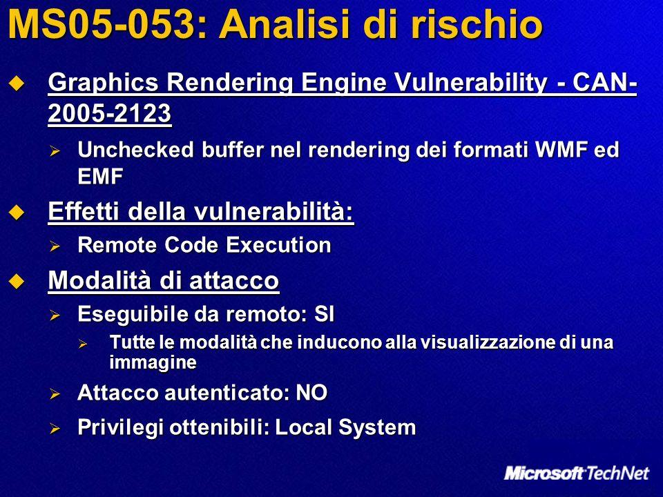 MS05-053: Analisi di rischio Windows Metafile Vulnerability - CAN-2005-2124 Windows Metafile Vulnerability - CAN-2005-2124 Unchecked buffer nel rendering del formato WMF Unchecked buffer nel rendering del formato WMF Effetti della vulnerabilità: Effetti della vulnerabilità: Remote Code Execution Remote Code Execution Modalità di attacco Modalità di attacco Eseguibile da remoto: SI Eseguibile da remoto: SI Tutte le modalità che inducono alla visualizzazione di una immagine Tutte le modalità che inducono alla visualizzazione di una immagine Attacco autenticato: NO Attacco autenticato: NO Privilegi ottenibili: Local System Privilegi ottenibili: Local System