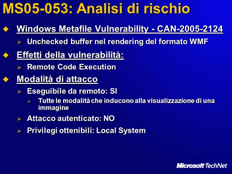 MS05-053: Analisi di rischio Enhanced Metafile Vulnerability - CAN-2005-0803 Enhanced Metafile Vulnerability - CAN-2005-0803 Unchecked buffer nel rendering del formato EMF Unchecked buffer nel rendering del formato EMF Effetti della vulnerabilità: Effetti della vulnerabilità: Denial of Service Denial of Service Modalità di attacco Modalità di attacco Eseguibile da remoto: SI Eseguibile da remoto: SI Tutte le modalità che inducono alla visualizzazione di una immagine Tutte le modalità che inducono alla visualizzazione di una immagine Attacco autenticato: NO Attacco autenticato: NO Privilegi ottenibili: nessuno (DoS) Privilegi ottenibili: nessuno (DoS)
