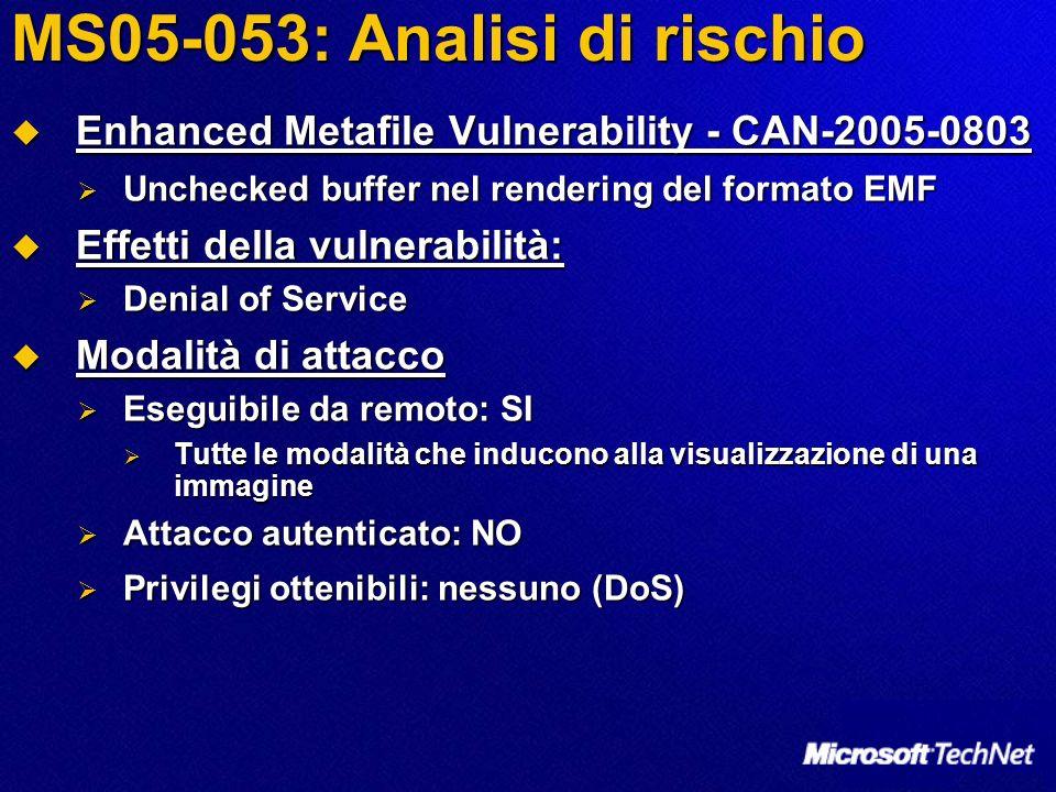 MS05-053: Analisi di rischio Enhanced Metafile Vulnerability - CAN-2005-0803 Enhanced Metafile Vulnerability - CAN-2005-0803 Unchecked buffer nel rend