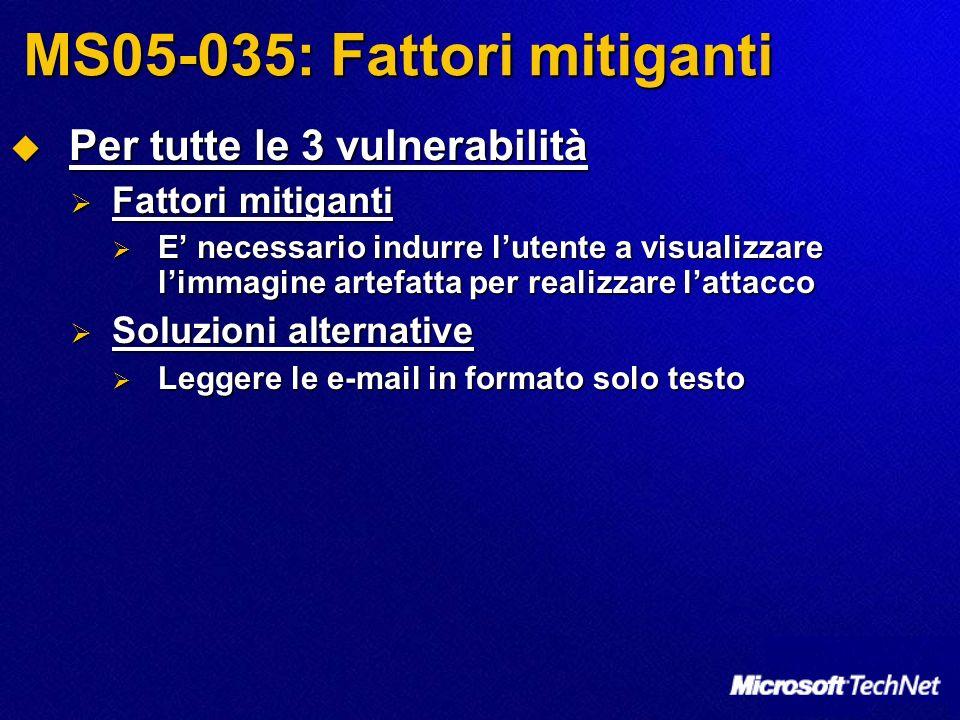 MS05-035: Fattori mitiganti Per tutte le 3 vulnerabilità Per tutte le 3 vulnerabilità Fattori mitiganti Fattori mitiganti E necessario indurre lutente