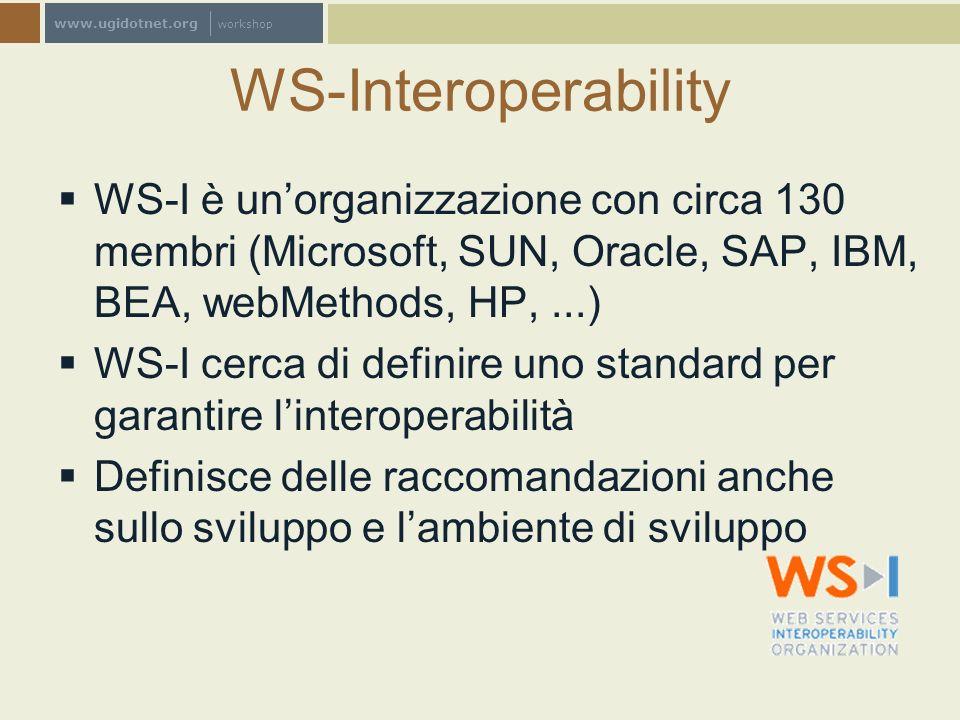 www.ugidotnet.org workshop WS-Interoperability WS-I è unorganizzazione con circa 130 membri (Microsoft, SUN, Oracle, SAP, IBM, BEA, webMethods, HP,...
