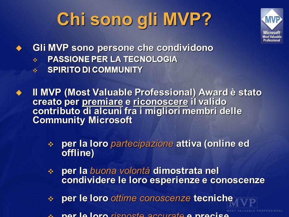 Chi sono gli MVP? Gli MVP sono persone che condividono Gli MVP sono persone che condividono PASSIONE PER LA TECNOLOGIA PASSIONE PER LA TECNOLOGIA SPIR