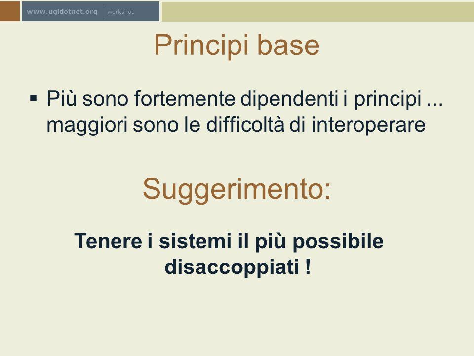 www.ugidotnet.org workshop Principi base Più sono fortemente dipendenti i principi... maggiori sono le difficoltà di interoperare Suggerimento: Tenere