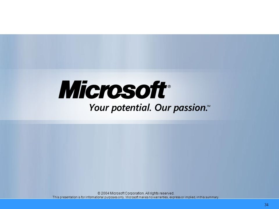 34 © 2004 Microsoft Corporation. All rights reserved.