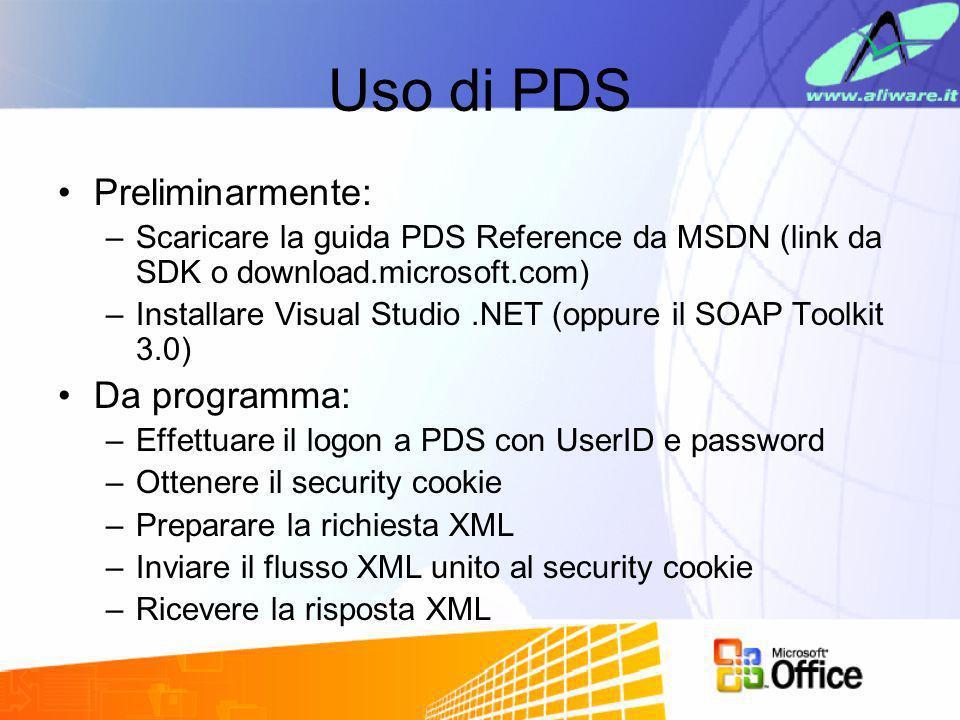 Uso di PDS Preliminarmente: –Scaricare la guida PDS Reference da MSDN (link da SDK o download.microsoft.com) –Installare Visual Studio.NET (oppure il