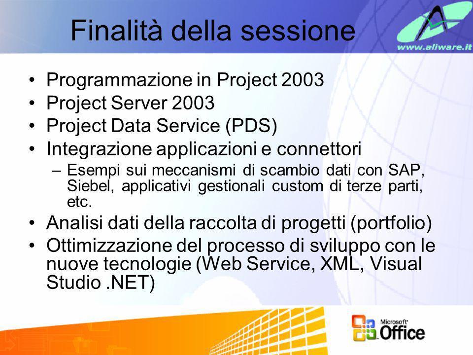 Finalità della sessione Programmazione in Project 2003 Project Server 2003 Project Data Service (PDS) Integrazione applicazioni e connettori –Esempi s