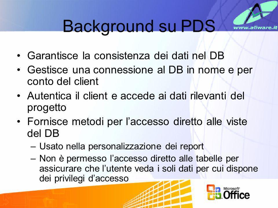 Background su PDS Garantisce la consistenza dei dati nel DB Gestisce una connessione al DB in nome e per conto del client Autentica il client e accede