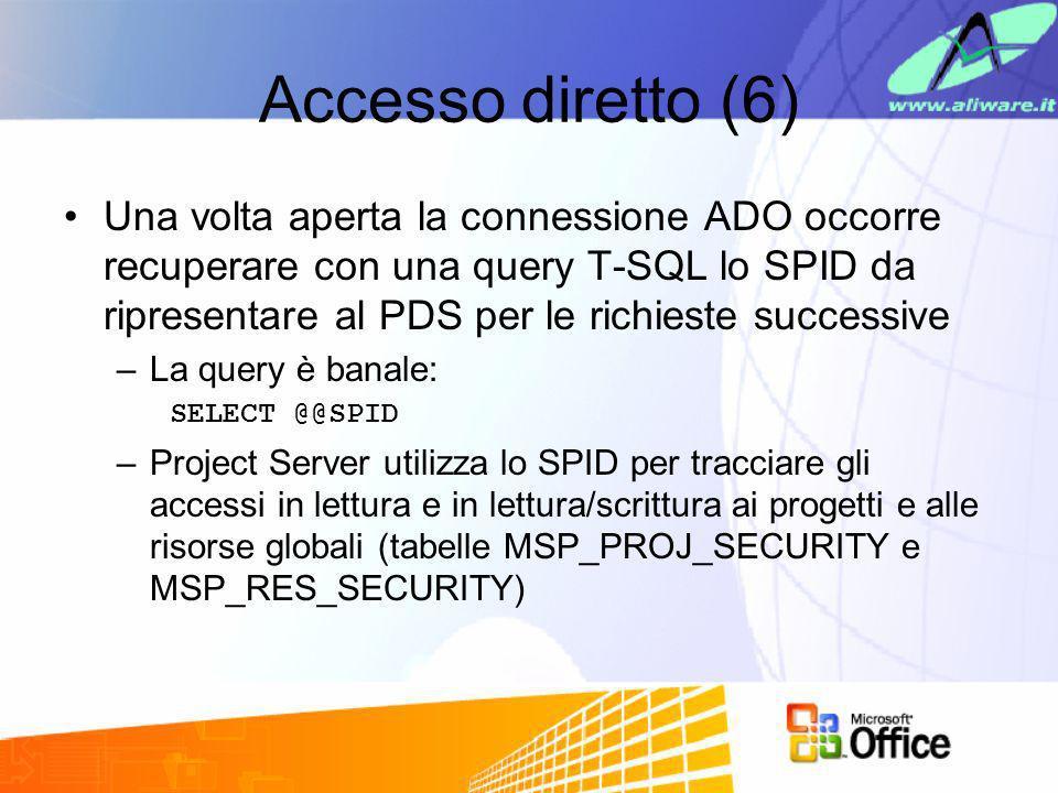 Accesso diretto (6) Una volta aperta la connessione ADO occorre recuperare con una query T-SQL lo SPID da ripresentare al PDS per le richieste success