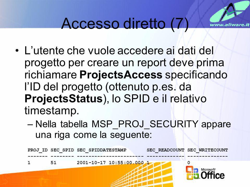 Accesso diretto (7) Lutente che vuole accedere ai dati del progetto per creare un report deve prima richiamare ProjectsAccess specificando lID del pro