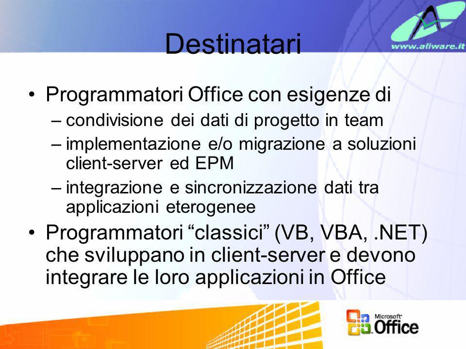 Destinatari Programmatori Office con esigenze di –condivisione dei dati di progetto in team –implementazione e/o migrazione a soluzioni client-server