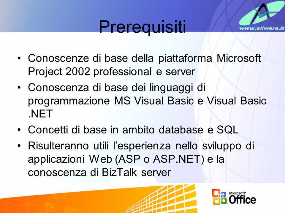 Prerequisiti Conoscenze di base della piattaforma Microsoft Project 2002 professional e server Conoscenza di base dei linguaggi di programmazione MS V