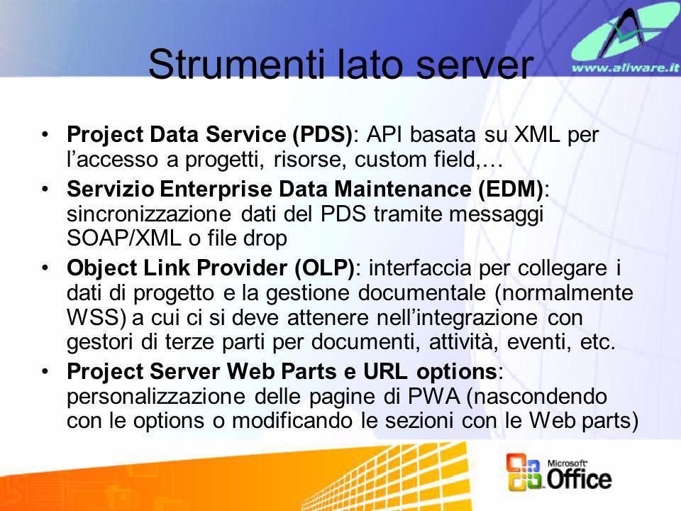 Strumenti lato server Project Data Service (PDS): API basata su XML per laccesso a progetti, risorse, custom field,… Servizio Enterprise Data Maintena