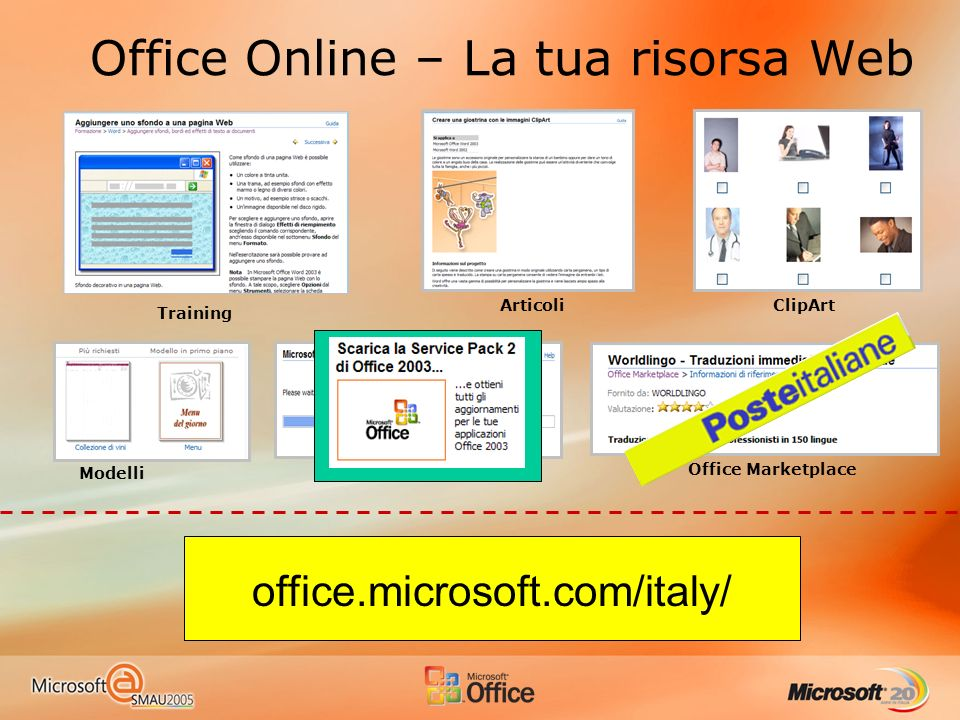 Office Online – La tua risorsa Web Modelli Training ClipArtArticoli Office Marketplace Office Update office.microsoft.com/italy/